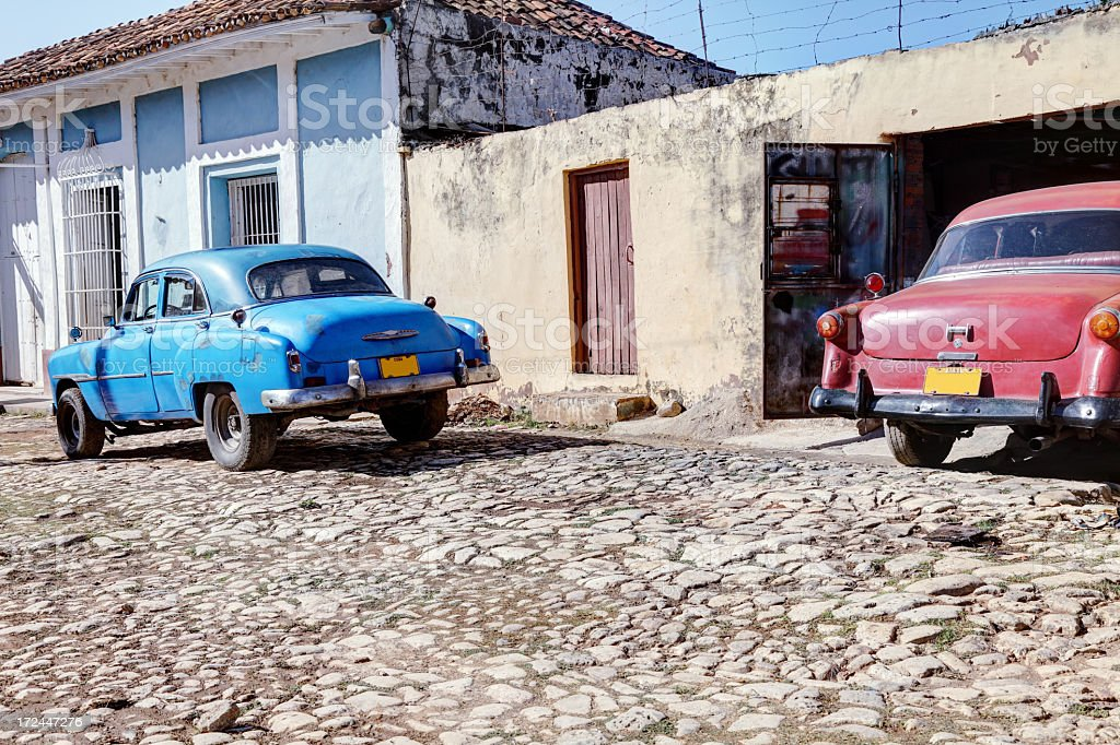 Two classic old cars royalty-free stock photo