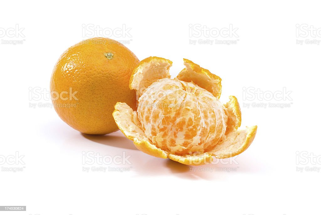 Two Clementine oranges royalty-free stock photo
