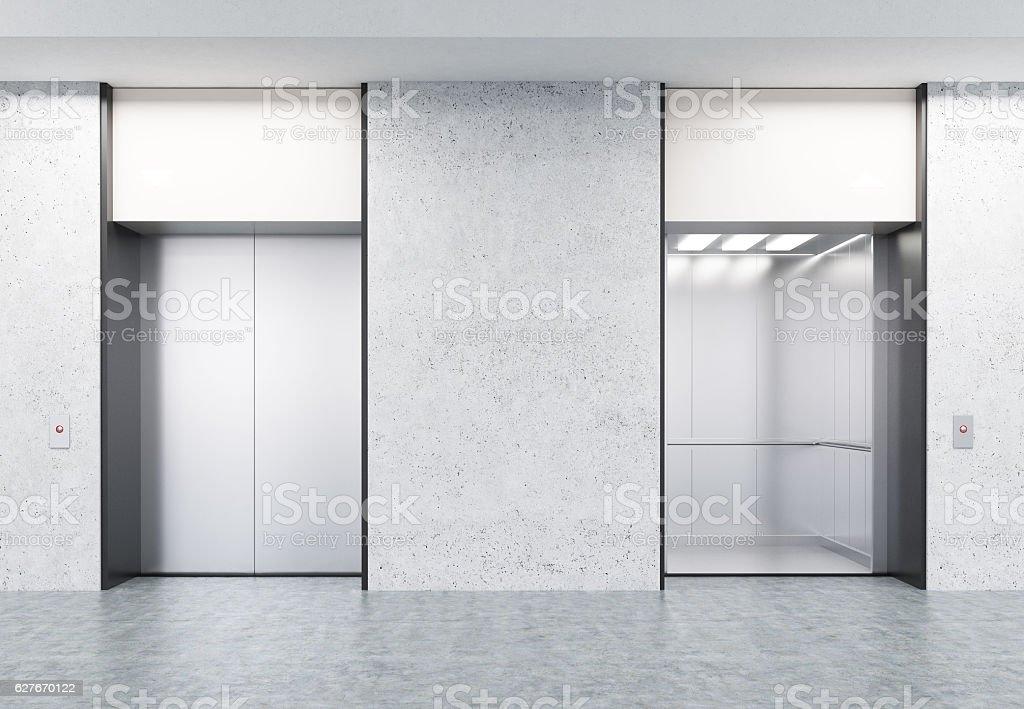 Two closed and open elevators in corridor with concrete walls - foto de stock