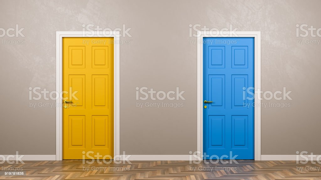 Two Closed Doors in Front in the Room royalty-free stock photo