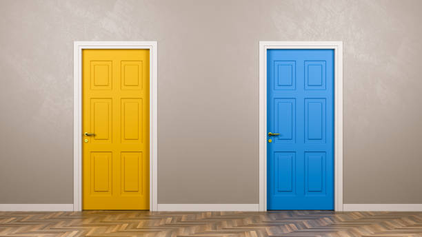 Two Closed Doors in Front in the Room stock photo