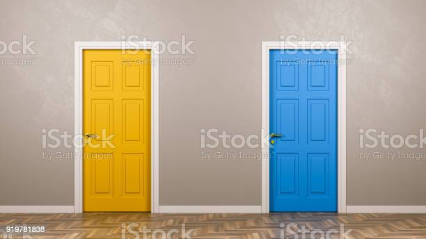 Zwei Geschlossene Türen Vorne In Den Raum Stockfoto und mehr Bilder von Aussuchen