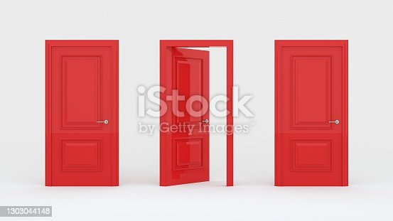 istock Two closed red doors and one open door isolated on a white background. Creative glamorous minimal style. Choice, business and success concept. 3d render 1303044148