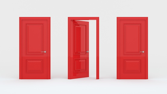 Two closed red doors and one open door isolated on a white background. Creative glamorous minimal style. Choice, business and success concept. 3d render