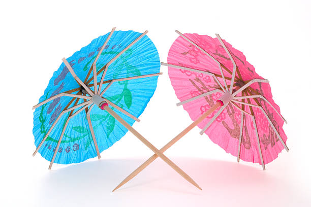 Two Cocktail Umbrellas Stock Photo