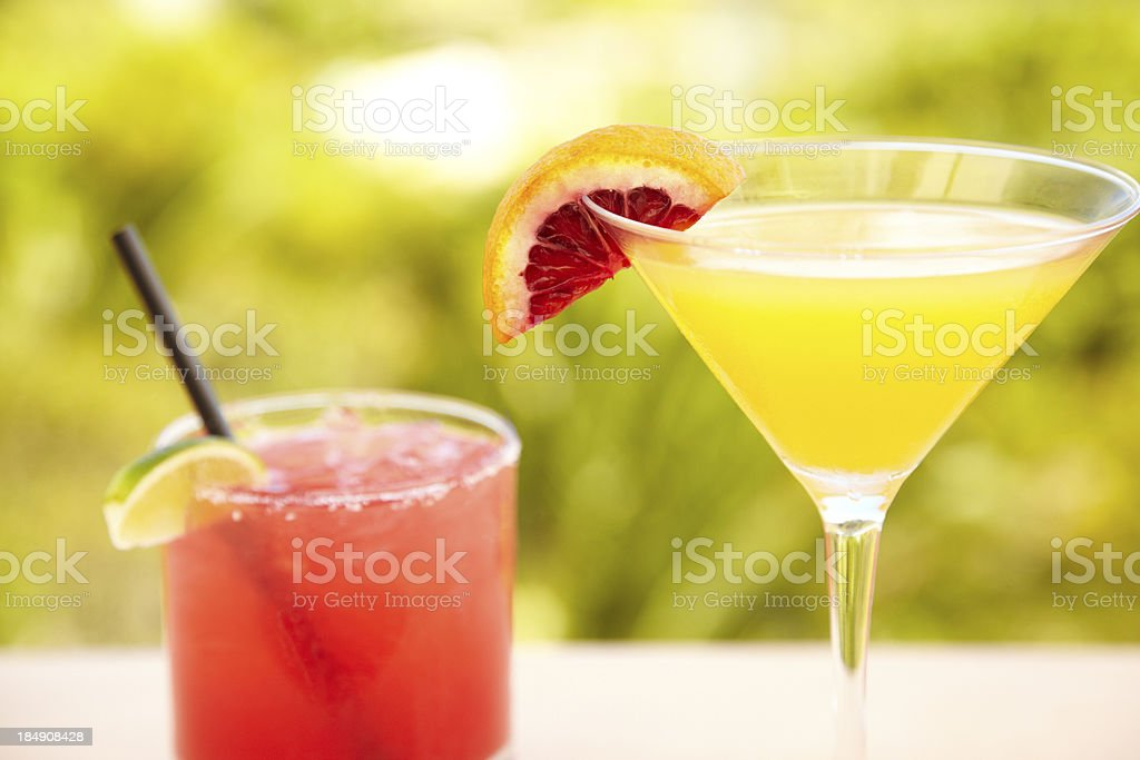 Two cocktails at outdoor bar royalty-free stock photo