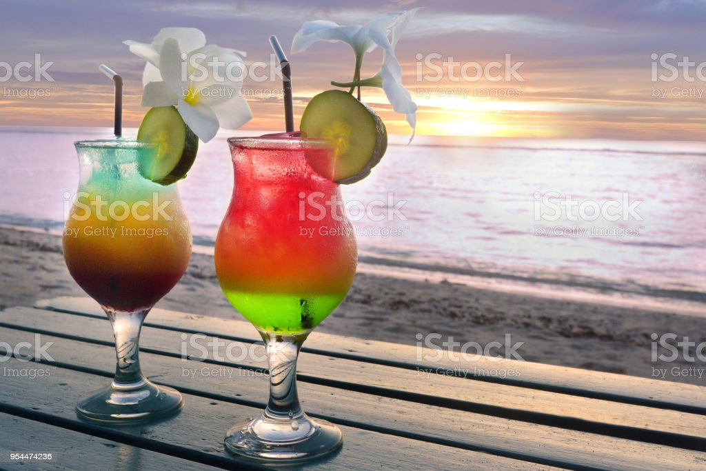 Two Cocktails Glass Served In A Pacific Island Honeymoon