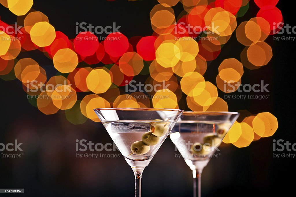 Two cocktails in a nightclub royalty-free stock photo