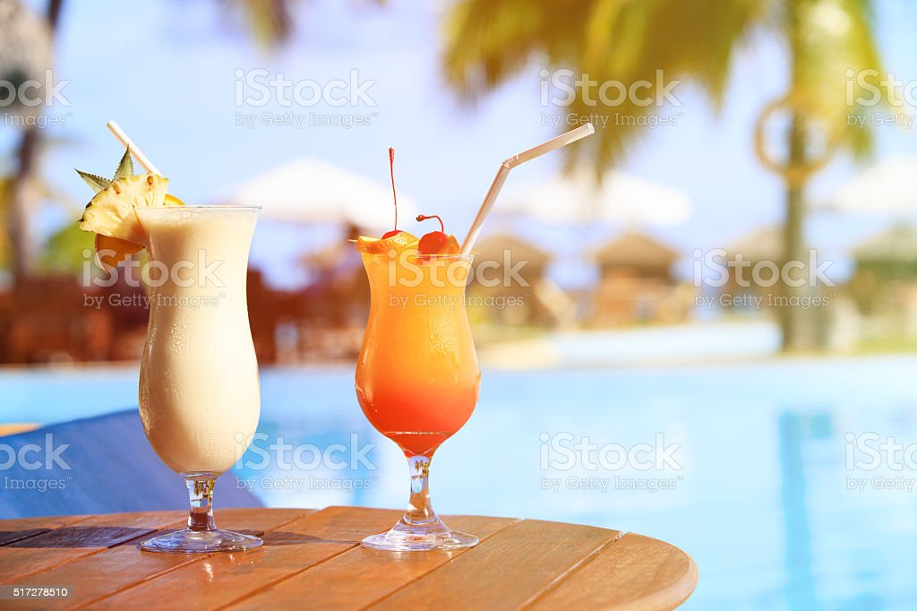 Two cocktails on luxury beach resort stock photo