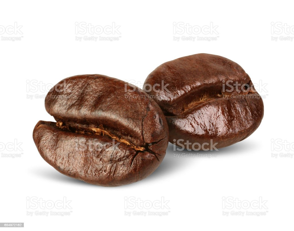 Two coffee beans isolated on white, path stock photo