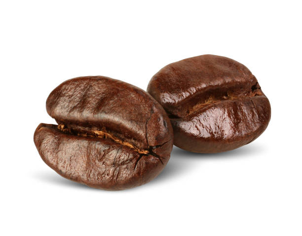 two coffee beans isolated on white, path - grainy stock photos and pictures