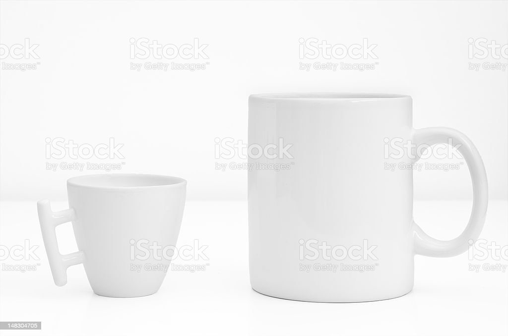 Two coffee cup or mug isolated on white background royalty-free stock photo