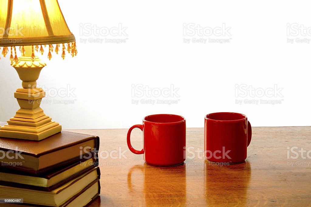Two coffee cups on a table royalty-free stock photo