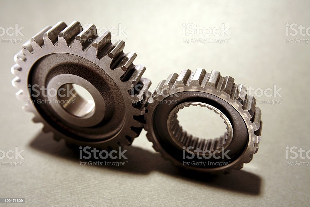Two cogs stock photo