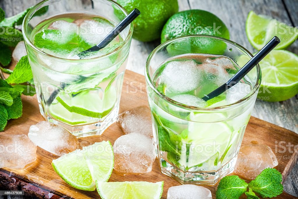 two cold mojitos cocktail stock photo