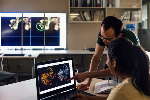 Two colleagues can be seen interpreting a scientific image on a laptop screen.
