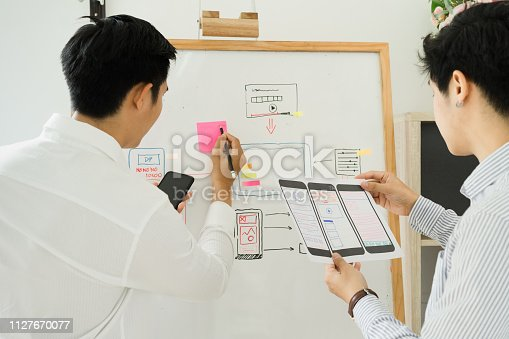 istock Two colleagues website development sketching UX UI wireframe layout design for application on mobile. 1127670077