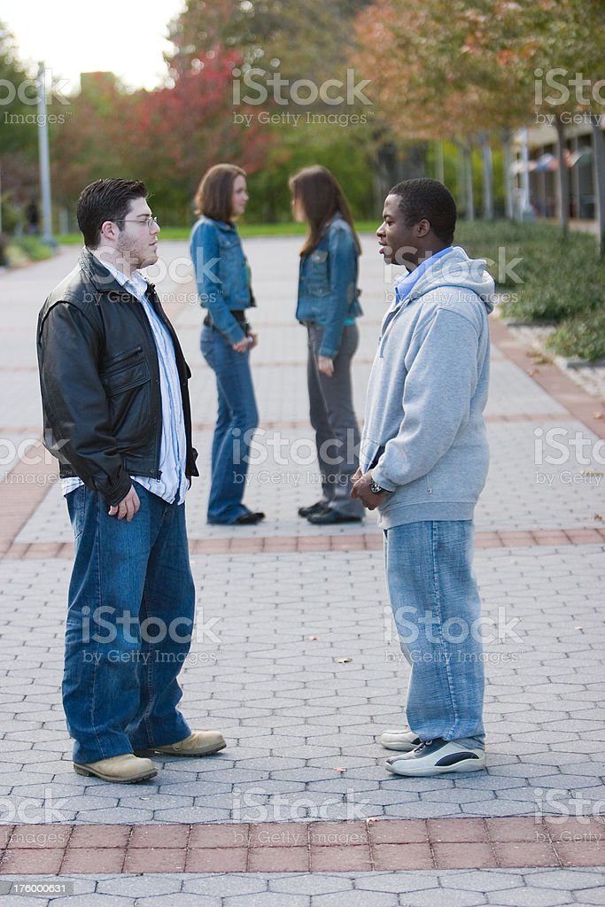 Two college buddies stock photo