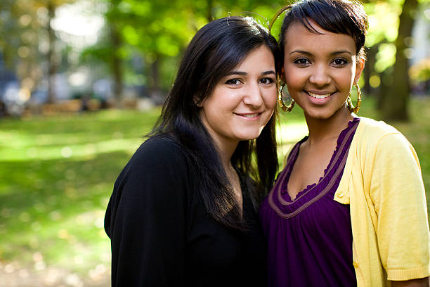 two college girls stock photo