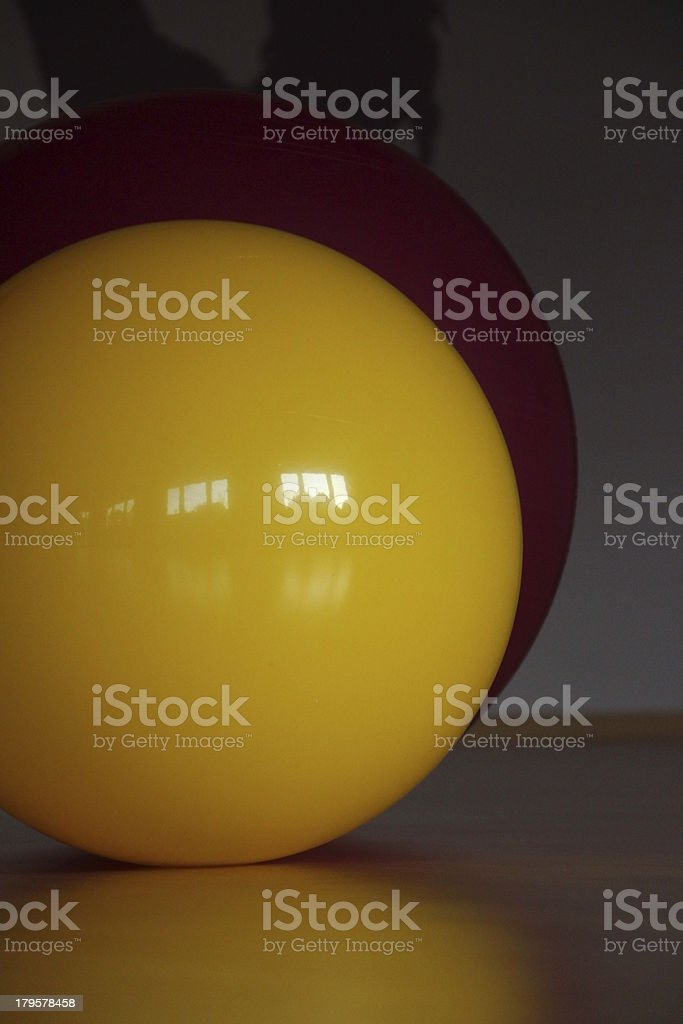 Two colored fitness balls at the gym royalty-free stock photo
