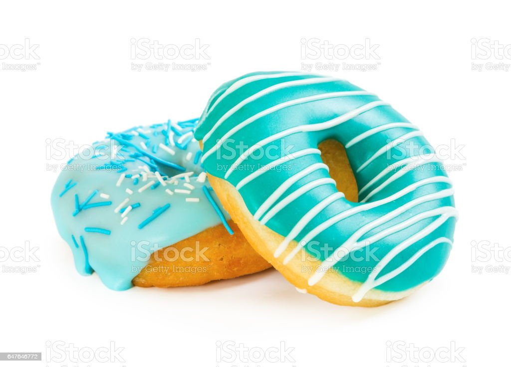 Two colorful donut stock photo
