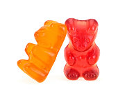 istock Two colorful gummy bears isolated on a white background. Jelly bears. 1217230528