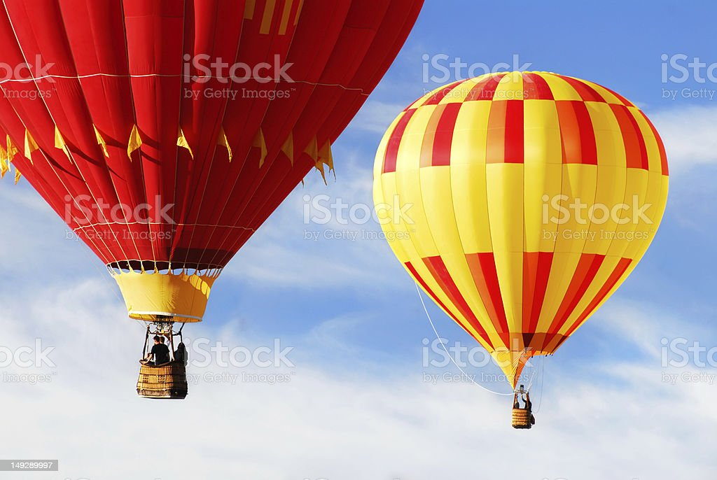 Two colorful hot air balloons stock photo