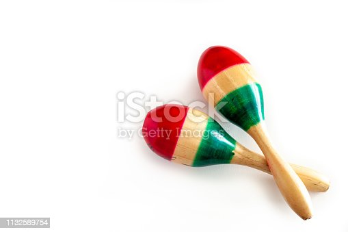 istock Two colorful maracas on white background. Cinco de mayo background. 1132589754