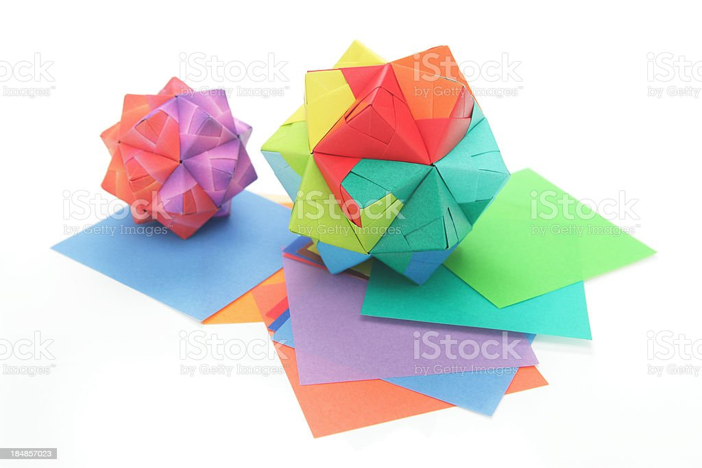 Two colorful origami polyhedron paper craft designs royalty-free stock photo