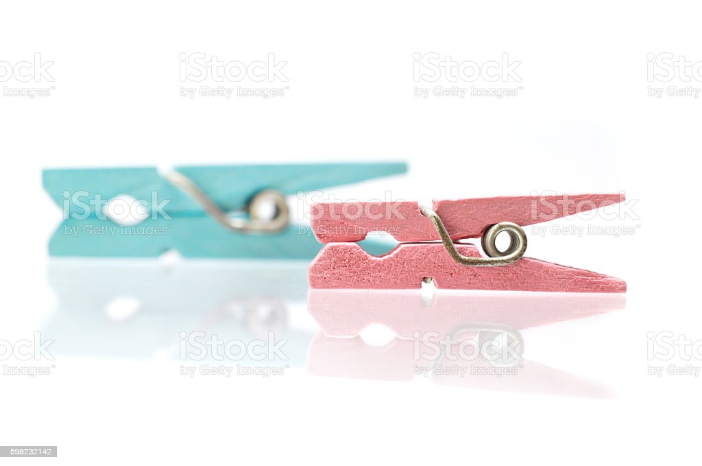 Two colorful wooden clothespins foto royalty-free