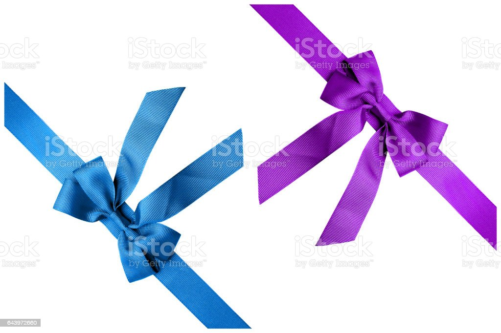 Two colours ribbon isolated on white background stock photo
