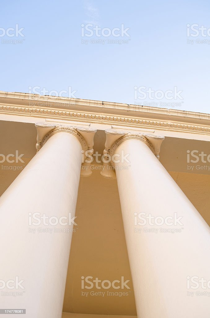 two columns architecture stock photo