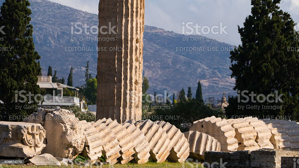 Two columns of the Olympieion , Athens, Greece- one in pieces stock photo