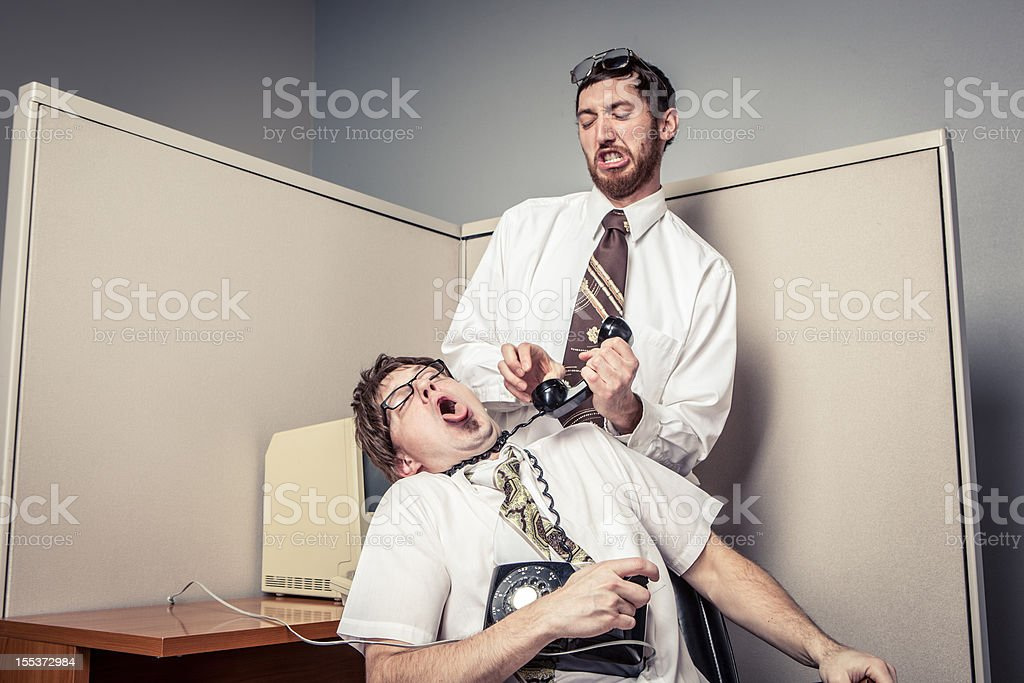 Two Comical Nerdy Office Workers, Fighting with Phone royalty-free stock photo