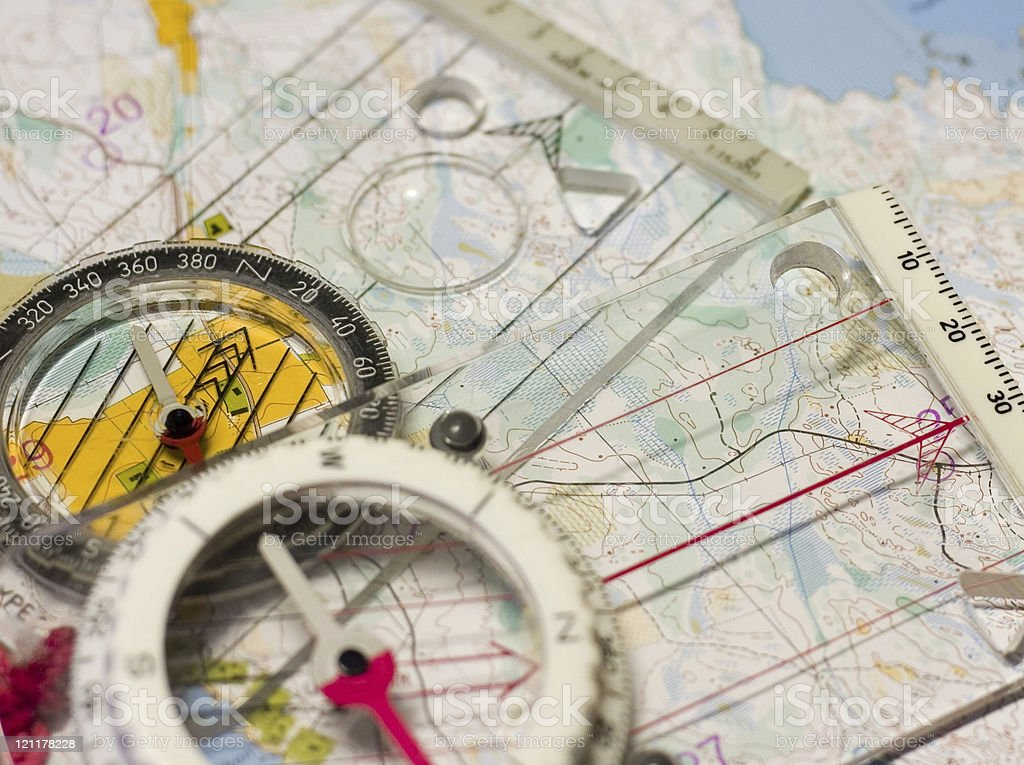 two compasses royalty-free stock photo