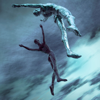 istock Two computer drawn avatars leaping into the sky in blue 172671015