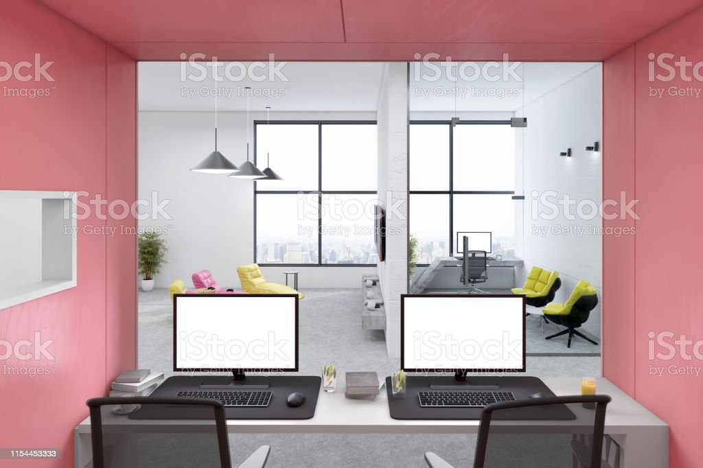 Modern open plan office interior with office desk and computer PC....