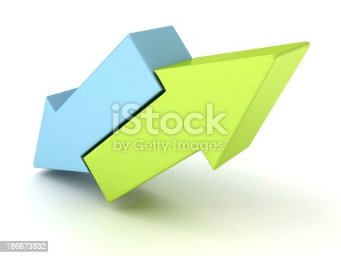 istock two concept blue and green arrows in different directions 186673832