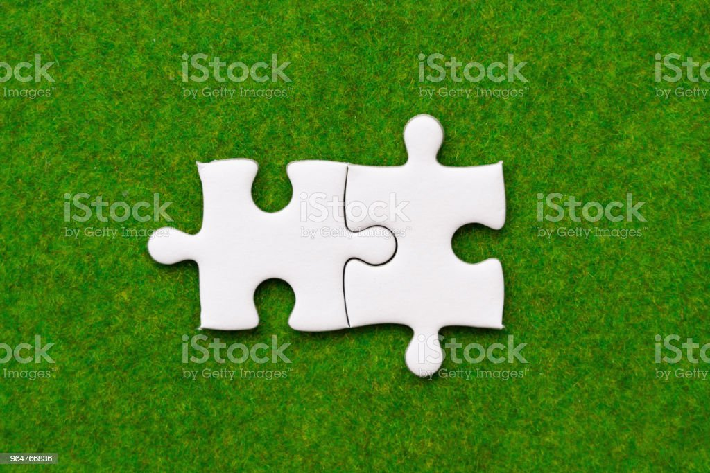 two connected jigsaw puzzle pieces on green grass background royalty-free stock photo