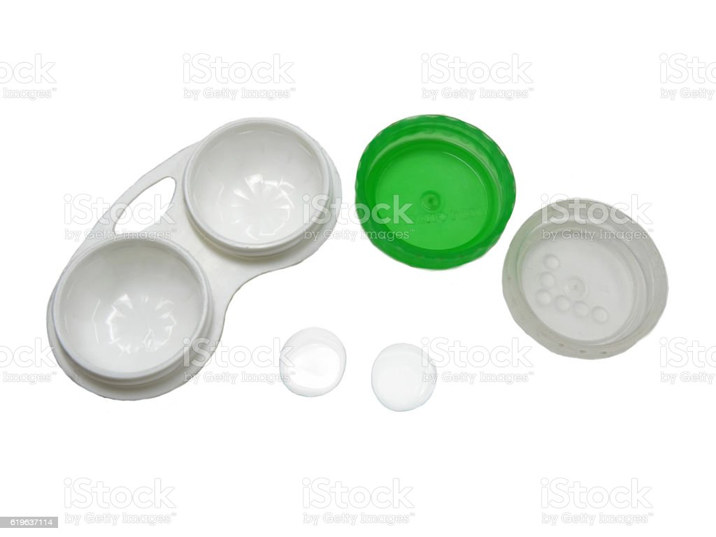 two contact lens and the container for them stock photo