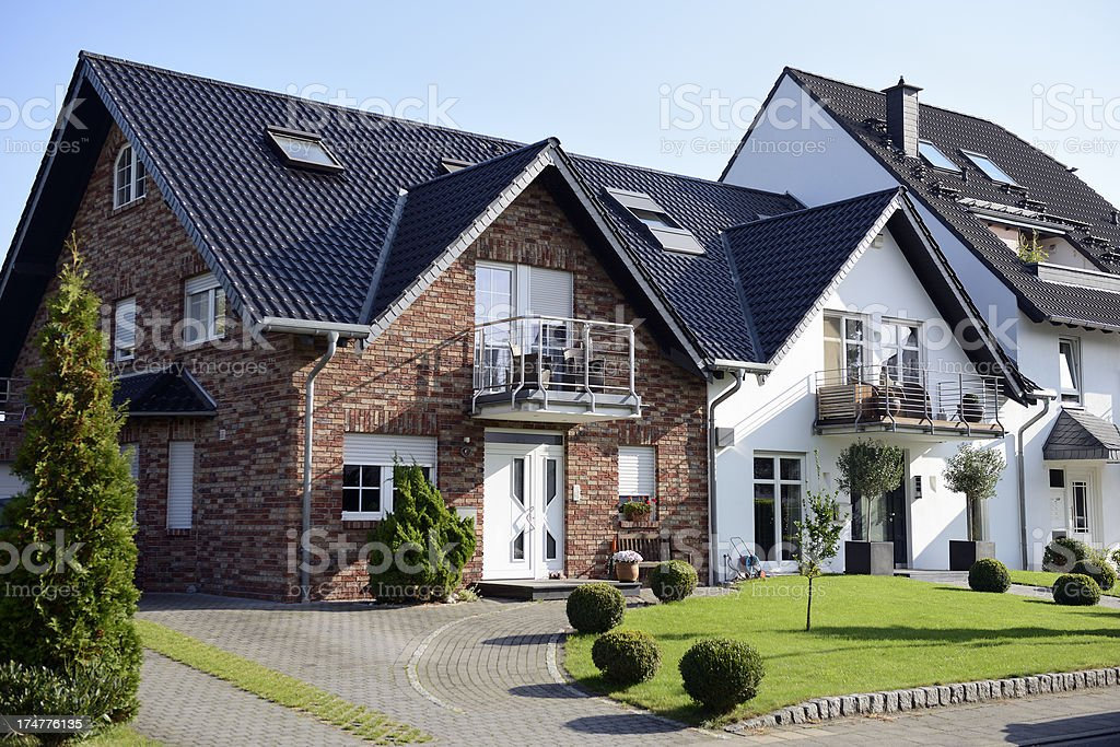 Two contemporary one-family houses stock photo