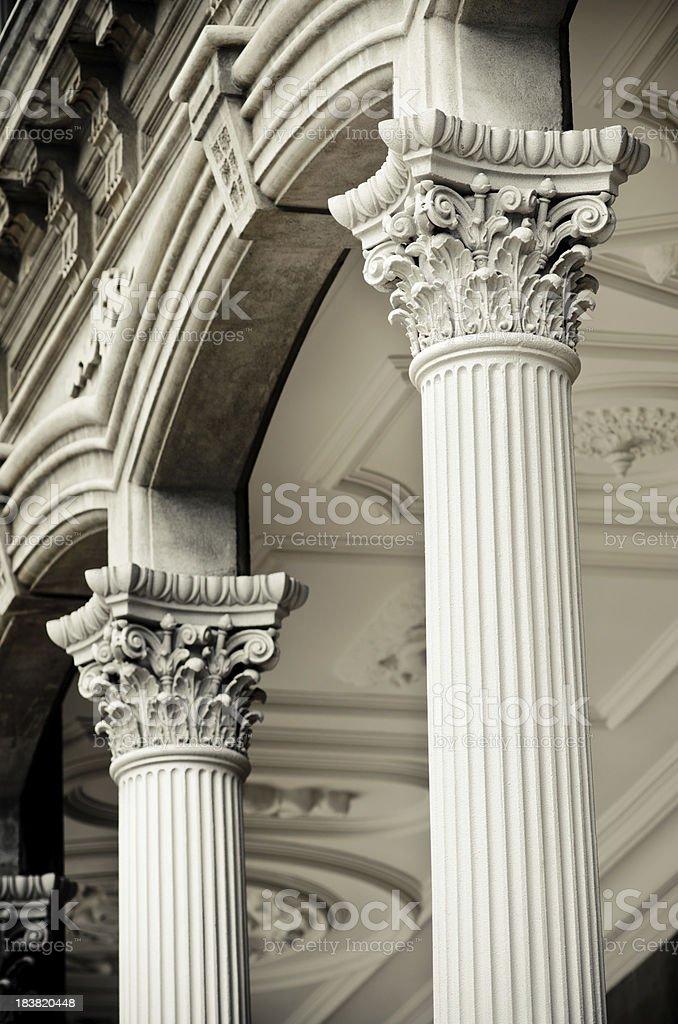 Two Corinthian columns at Iolani Palace in Honolulu, HI stock photo