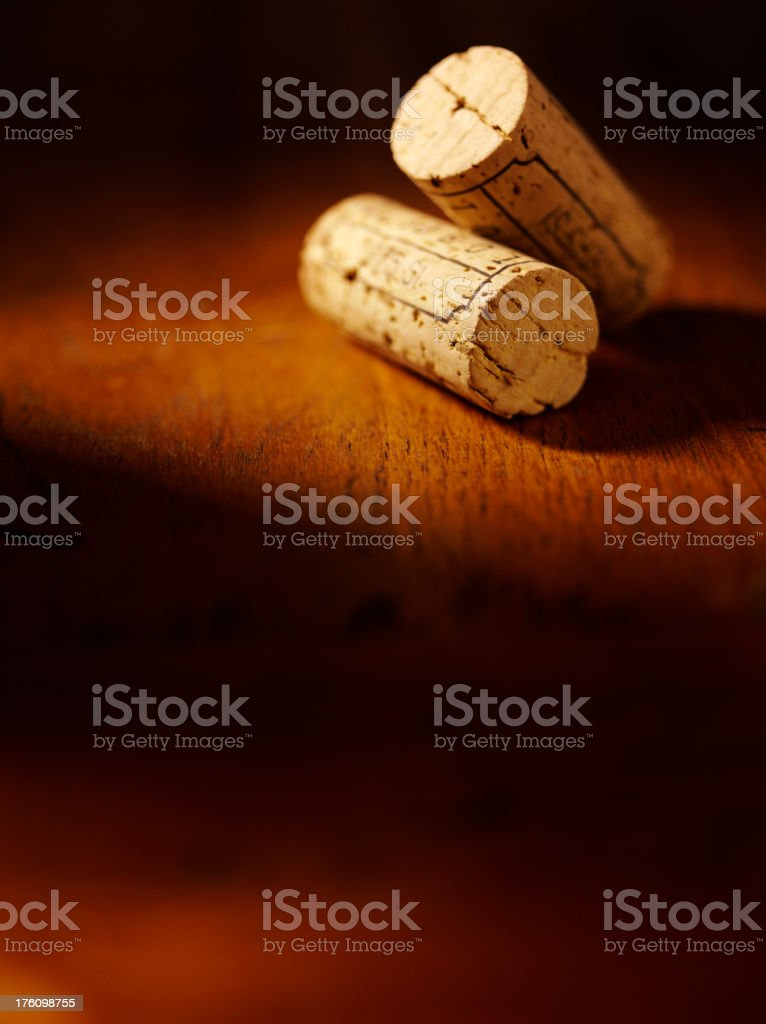 Two Corks on a Table royalty-free stock photo