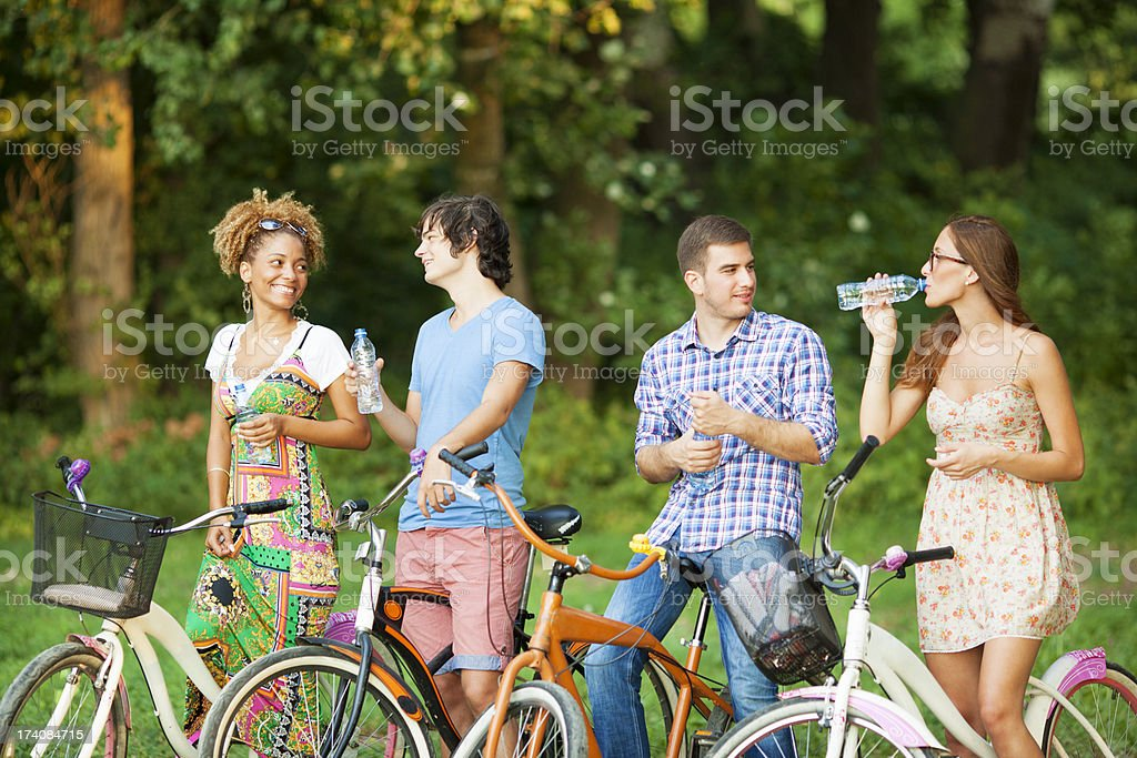 Two couples in a park with bicycles. stock photo