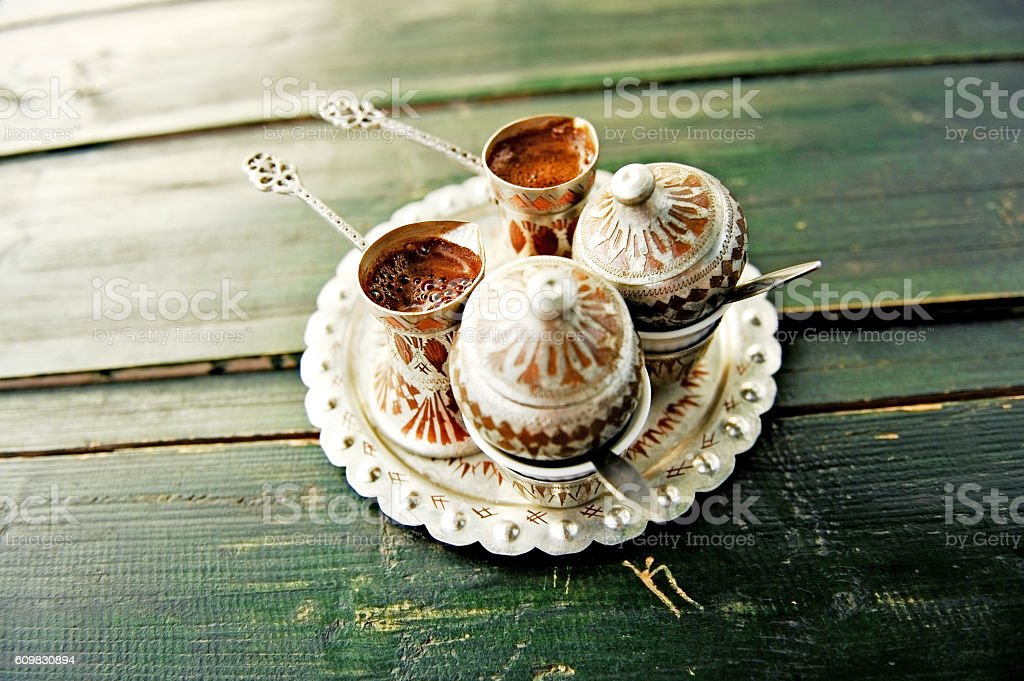 Two coups of bosnian coffee stock photo