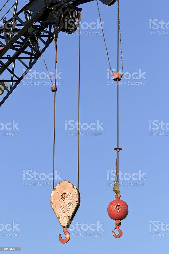 Two Crane Hooks stock photo