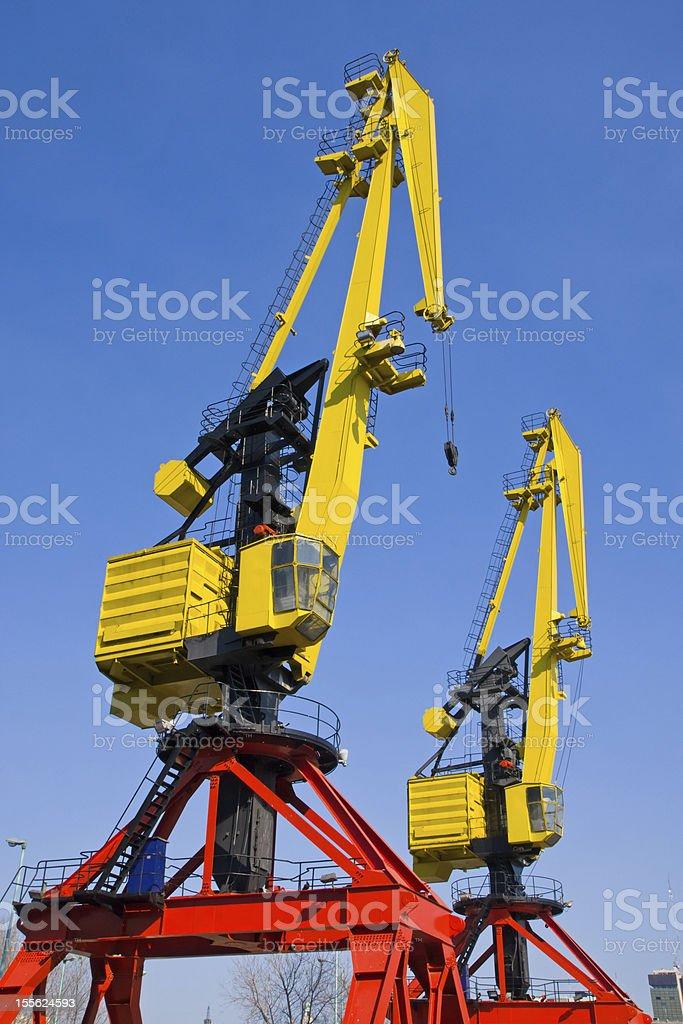 Two cranes in Puerto Madero stock photo