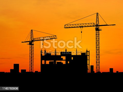 Two cranes build construction at CG sunset