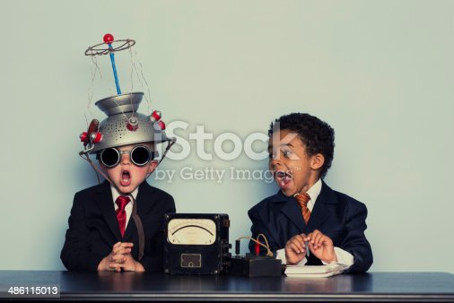istock Two Crazy Business Boys Search Minds For Ideas 486115013
