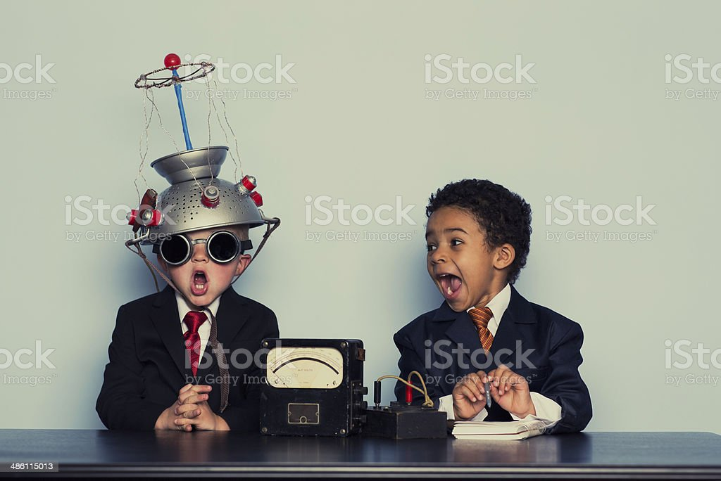 Two Crazy Business Boys Search Minds For Ideas stock photo